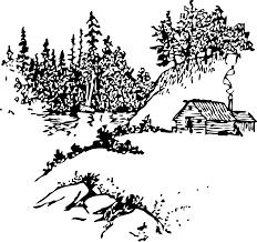 clipart cabin along stream