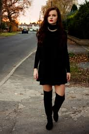 dresses with boots black boots and black swing dress joli house