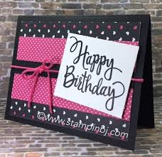 simple birthday card with stylized birthday greeting on pop of