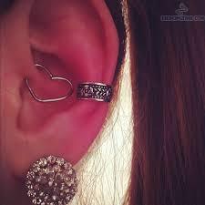cuff piercing ear cuff cartilage lobe and ear heart piercing