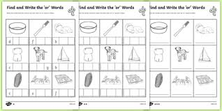 The Or Find And Write The Or Words Differentiated Worksheet Activity