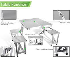 aluminum portable picnic table outdoor garden aluminum portable folding cing picnic table w 4