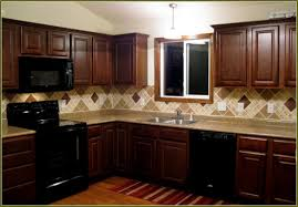 kitchen wall colors with cherry cabinets brown varnished wood