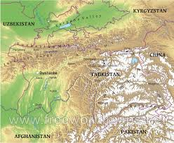 Southwest And Central Asia Map by Tajikistan Physical Map