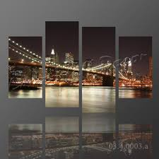 New York City Home Decor 2017 No Frame Canvas Only New York City Bridge At Night Painting