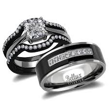 wedding rings sets his and hers his and hers wedding ring sets black stainless steel and titanium