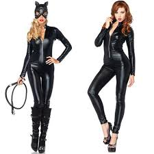 Woman Halloween Costumes Cat Halloween Party Costumes Black Faux Leather Siamese