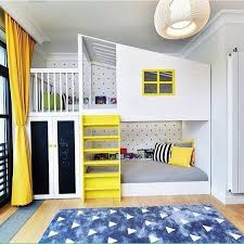 Inspirational Examples To Refresh The Kids Room With Yellow - Kids room bunk beds