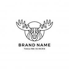 moose template moose antler line lineart outline logo vector icon