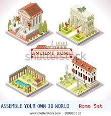 isometric building ancient rome tile online stock vector 369858731