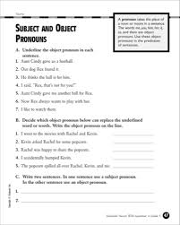 subject object pronouns worksheet worksheets