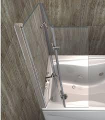 Shower Folding Doors 3 Glass Panels Hinged Bifold Doors Folding Bathtub Shower Door