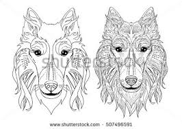 free hand drawing dog head vector download free vector art