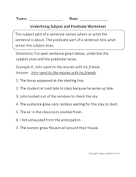 grammar worksheets parts of a sentence worksheets