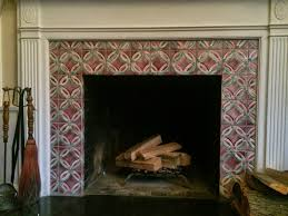 amish quilt pattern ceramic tile fireplace surround