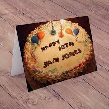 personalised birthday card happy 18th birthday cake