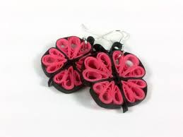 earrings paper paper quilling butterfly earrings pink purple green