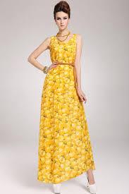 yellow peach print sleeveless chiffon maxi dress casual dresses