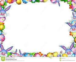 easter bunnies with colorful eggs and flowers border frame stock