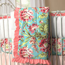 teal crib bedding set coral and teal floral 3 piece crib bedding set carousel designs