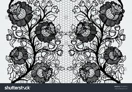 wide lace ribbon wide seamless black lace ribbon roses stock vector 187250012