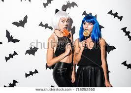 picture two emotional young women halloween stock photo 718563970