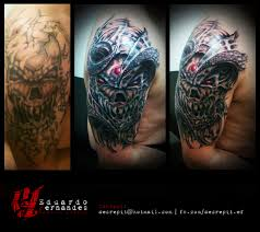 skull bio organic cover up tattoo tattoos eduardo fernandes