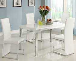 White Modern Dining Chairs Chicago Furniture For Modern Dining Set With White Glossy Table