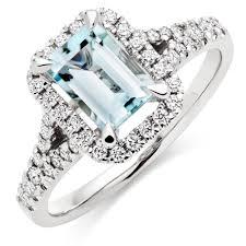aquamarine diamond ring 18ct white gold diamond aquamarine cluster ring 0005747