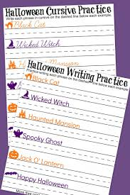 halloween cursive handwriting practice worksheets cursive