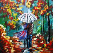 lovers walking in rain umbrella art beginners acrylic painting