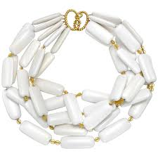 beading necklace clasp images Estate verdura white agate 39 tile 39 necklace with 18k gold clasp jpg