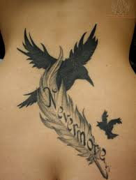 birds flying from eagle feather tattoo on back photo 1 2017