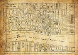 Map Of Detroit Michigan 1920 Detroit Michigan Street Map Vintage Sepia Grunge Print