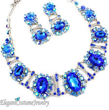 blue crystal statement necklace images Sapphire blue crystal chunky statement necklace set elegant jpg