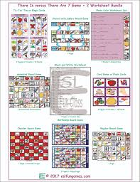 there is there are 7 game 2 worksheet bundle esl fun games fun