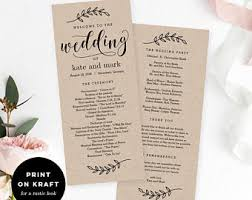 wedding program custom program etsy