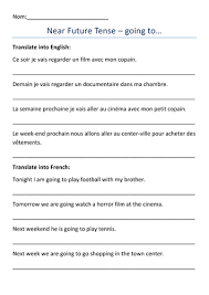 french immediate future tense worksheets by dannielle89