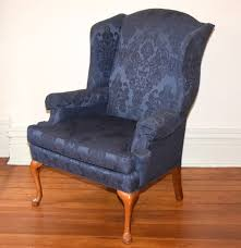 Damask Chair Blue Damask Upholstered Wingback Chair By Sherrill Furniture Ebth