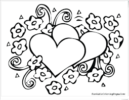 printable coloring pages hearts and flowers red to cut out