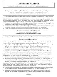 Coach Resume Example by Athletic Director Resume Examples Resume Format 2017