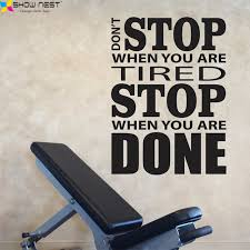 home gym wall decor home gym wall decal vinyl sticker motivation quotes don t stop when