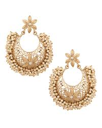 chandbali earrings buy chandbali earrings with floral cut work pearl online
