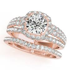 bridal sets rings engagement ring halo diamond row split band bridal set