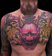 mask tattoos on chest