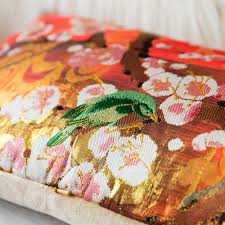 Bolster Cushion Pad Kimono Bolster Cushion Bronze Floral Brocade Blossom Bird