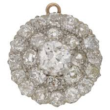victorian era diamond bangle with removable central pendant