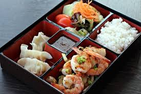 cuisine bento hibachi bento box with prawns 1 of 10 dishes in the evening