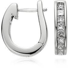 diamond back earrings blue nile princess cut hoop diamond earrings polyvore