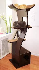 the refined feline lotus cat tower in espresso cat